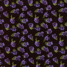 Debbie Beaves Lovely Black Purple Calico Pansy  Floral Quilt Fabric 1447--001 3B