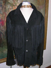 SCHOTT Western Fringe JACKET Black Suede UNISEX 44 Coat BILLY MARTIN Mad.Ave NYC
