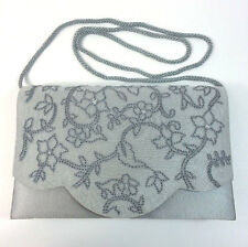 "Preston And York Purse Silver Gray embroidered sequins dressy handbag 8.5"" x 5.5"