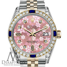 Women's Rolex 31mm Datejust 2Tone Glossy Pink Flower Dial Sapphire & Diamond