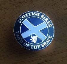 "Scottish biker "" Land of the brave Enamel Pin Badge Motorcycle Scotland Saltire"