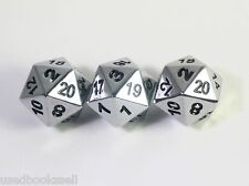 Solid Metal 3 piece d20 Polyhedral Dice Set Chrome Silver D&D New!