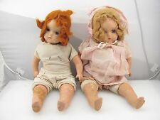 "Lot of 2 Antique Horsman Composition Baby Dolls 18"" w / Nightgown"