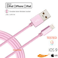 STRONG BRAIDED MFI LIGHTNING Sync Data Cable USB Charger IOS9 For iPhone 6S iPad