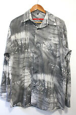 Vintage 90s Men's Grey Abstract Print Shirt Size M Long Sleeve Retro Indie