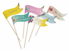 24 x Décoration Style Vintage alimentaire picks flags buffet Sandwich Cupcake Toppers
