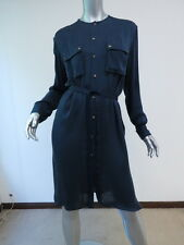 Lanvin Silk Shirt Dress with Grosgrain Belt Dark Blue Size 36