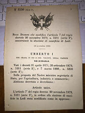 REGIO DECRETO MODIFICA L' ART 7 CONCERNENTE la STAZIONE di CASEIFICIO di LODI