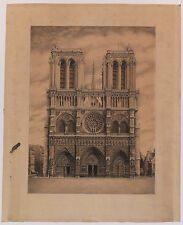 Paris Notre-Dame Dessin à la plume pen and ink drawing 1928