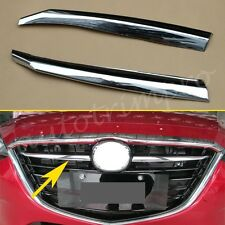 2X Chrome Front Grille Grill Stripe Cover Trim For Mazda3 2014-2016 Accessory