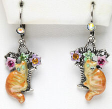 KIRKS FOLLY TIGER RED CAT EARRINGS silvertone