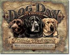 Dog Day Acres Black Yellow Chocolate Lab Labrador Friends Welcome Tin Metal Sign