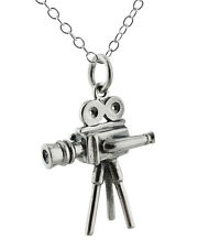 1930s Movie Camera Necklace - 925 Sterling Silver - 3D Director Film Vintage NEW