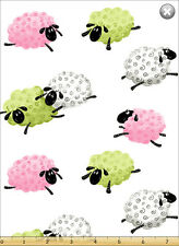 Susybee LAL the LAMB Flying Pink Green Sheep Quilt Fabric by 1/2 yard #20052-520