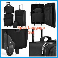 4 Pcs Black Lightweight Luggage Set Trolley Wheeled Suitcase Travel Baggage Bags