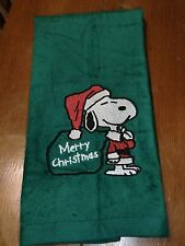 Embroidered Velour Hand Towel - Snoopy - Merry Christmas - Green Towel