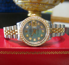 Ladies ROLEX Oyster Perpetual Datejust Diamonds Mother of Pearl Dial Watch