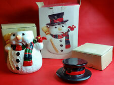 "NEW in Box Christmas Village Snowman Cookie Jar Earthenware 11"" Tall X-Mas Deals"