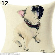 PUG DOG Oil Painting Sitting Colour New LINEN-COTTON CUSHION COVER Puppy GB Sale