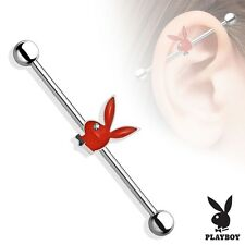 PLAYBOY Red BUNNY Industrial Bar Scaffold Ear Barbells Ring PIERCING JEWELRY