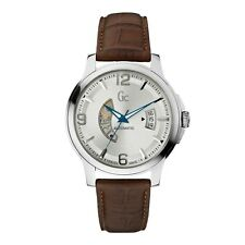 Guess Collection Men's Automatic Brown Leather Silver Steel Watch X84004G1S NEW