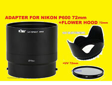 CAMERA LENS ADAPTER+FLOWER HOOD+UV FILTER 72mm for NIKON COOLPIX P600 P610
