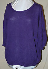 MOTTO SO CHIC 3/4 SLEEVE SCCOP NECK MIXED YARN PULLOVER SWEATER PURPLE XL RUNS L