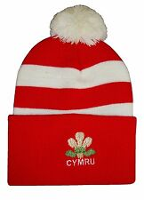 Wales Rugby Bobble Hat  - Red and White Stripe