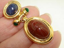 Large Gold Tone Metal Hinged Genuine Lapis & Carnelian Scarab Pendant!