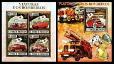 S. Tome MNH 4v SS, Gold, Embossed, Odd, Old fire Engines, Sp.Transport - NL3