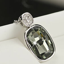 18K WHITE GOLD GF SWAROVSKI CRYSTAL PENDANT NECKLACE