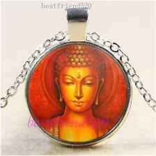 Buddhism Buddha Photo Cabochon Glass Tibet Silver Chain Pendant Necklace