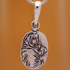 Solid 925 Sterling Silver Saint Virgin Mary Child Jesus Icon Oxidized Pendant