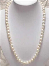 New Natural  Beautiful! 7-8mm White Akoya Cultured Pearl Necklace 25""
