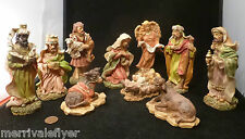 Beautiful Hand Painted CHRISTMAS NATIVITY Set 10 Figures SUPER Detailed Italy ?