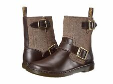New Dr. Martens 'Gayle' Herringbone Tweed & Leather Moto Boots, sz 9, fit 10 wm