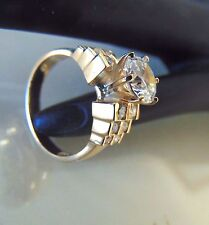 Real 14k Solid Yellow gold round cut Engagement ring