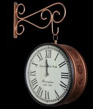 Indian metal brown copper double sided wall clock station style handmade ethnic