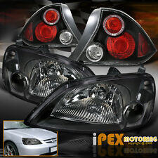2001 2002 2003 Honda Civic 2Dr Coupe JDM Black Headlights W/ LED Halo Tail Light