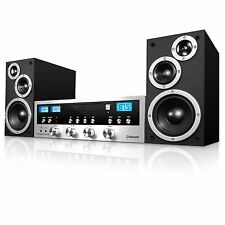 Innovative Technology Classic Retro Black/Silver Bluetooth Stereo System w/ BT