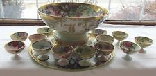 T&V TRESSEMANN & VOGT LIMOGES FRANCE HP GRAPES GOLD PUNCH BOWL TRAY & GOBLETS