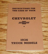 1936 Chevrolet Truck Owners Operators Manual 36 Chevy