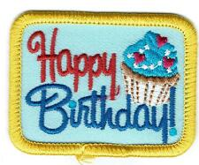 Girl Boy Cub HAPPY BIRTHDAY BLUE Fun Patches Crest Badge SCOUTS GUIDE Party