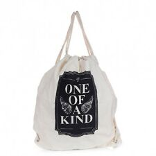 One Of A Kind Canvas Draw String Cotton Backpack Day Pack Bag Rucksack Beach New