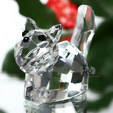 Crystal Paperweight Kitten Cat Figurine Glass Xmas Wedding Collectible Gift Deco