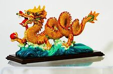 Asian Chinese Lucky Feng Shui Serpentine Dragon Figurine with Thunder Ball