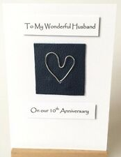 10th Wedding Anniversary Card Husband Dark Blue Leather Silver Aluminium Tin