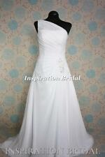 UK 1523 White Ivory Wedding Dresses dress chiffon one shoulder lace up back