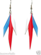 PATRIOTIC RED WHITE & BLUE PLASTIC DRINKING STRAW DANGLE EARRINGS (D362)