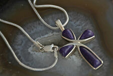 "Very Pretty 925 Sterling Solid Silver Sugilite Stone Cross Pendant & 18""  Chain"